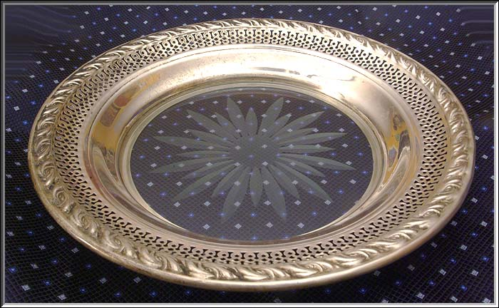Vintage AMSTON Sterling Silver & Glass Wine Tray  Repousse