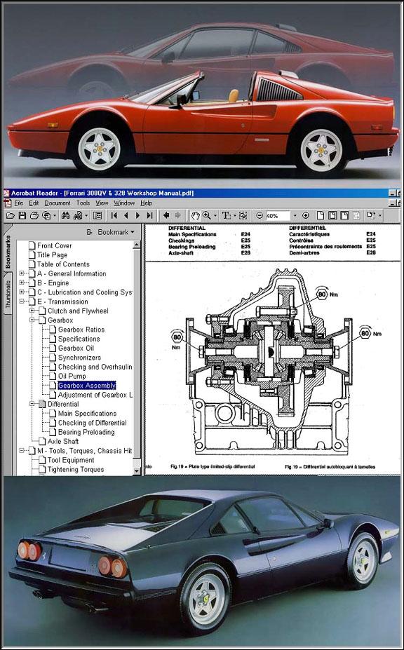 Ferrari 308 328 Gtb  U0026 Gts Workshop Manual Cd
